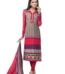 Buy Multicolor  faux crepe salwar with dupatta semi-stitched-salwar-suit online