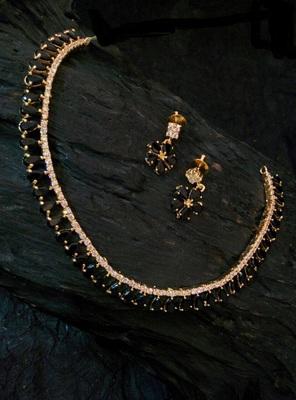 Black Agate Cz Necklace Set