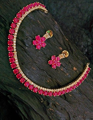 Pink Agate Cz Necklace Set