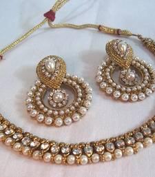 Golden Pearl Polki Necklace Set