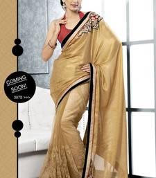 Buy Beige color embroidered designer saree satin-saree online