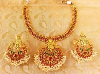 Multi-Color Kemp Ganesha Temple Jewellery Set