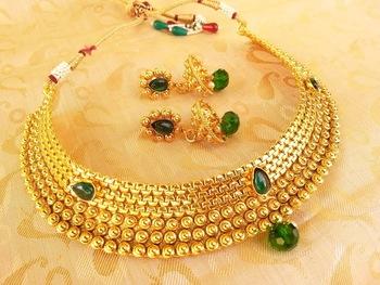 Gorgeous Green Kemp Metallic Necklace Set with Jhumkas