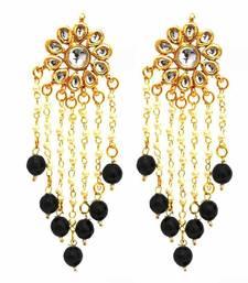 The Charming Kundan Pearls Danglers - Black