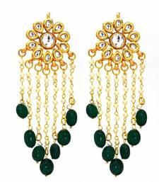 The Charming Kundan Pearls Danglers - Green