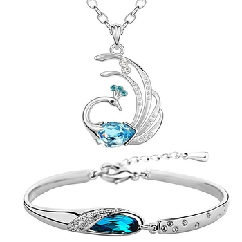 Blue crystal jewellery-combo