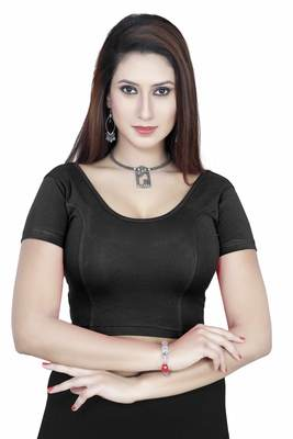 Black solid  stretch stitched blouse