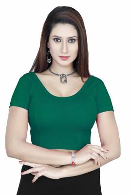 Rama green solid  stretch stitched blouse