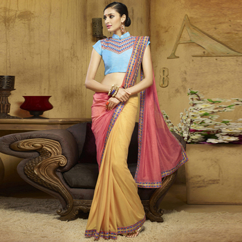 Coral And Yellow Embroidery Liva saree with blouse