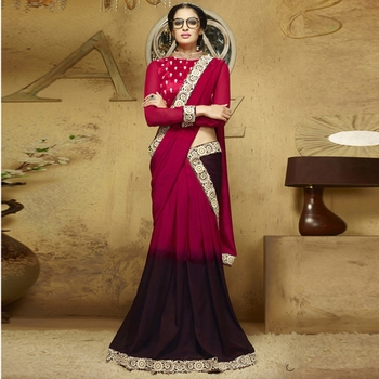 Red And Brown Embroidery Liva saree with blouse
