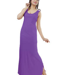 Buy Ladies Off Sleeves  Knitted Jersey Ankle lenght Nighty with Bottom Side Slit For Ease Movement nightwear online