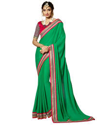 Buy Green Embroidery Crepe and Jacquard saree with blouse party-wear-saree online