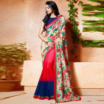 Multicolor Printed Work Silk And Crepe Chiffon saree with blouse