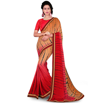 Beige And Pink Printed Work Crepe and Jacquard saree with blouse