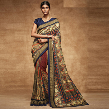 Multicolor Digital Print Tusser Silk saree with blouse