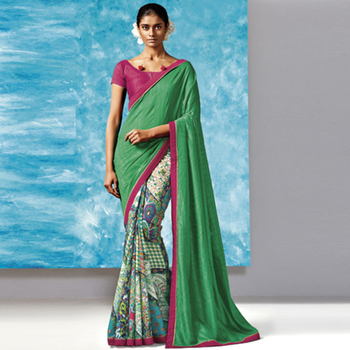 Green Printed Work Liva And Silk saree with blouse