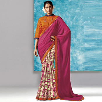 Pink Printed Work Liva And Silk saree with blouse