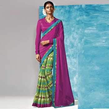 Magenta And Green Printed Work Liva And Silk saree with blouse