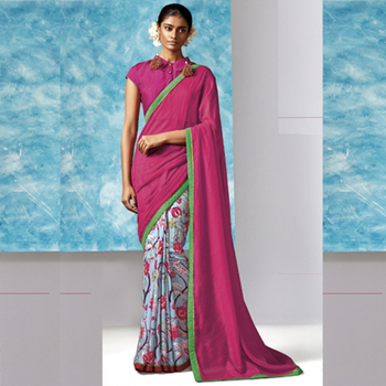Multicolor Printed Work Liva And Cotton Silk saree with blouse
