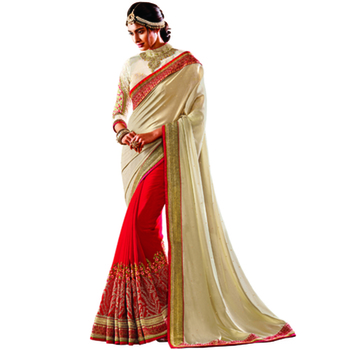 Off White And Red Embroidery Crepe And Georgette saree with blouse