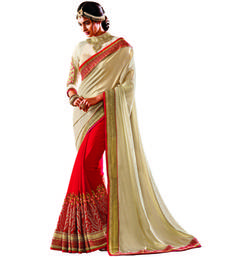 Buy Off White And Red Embroidery Crepe And Georgette saree with blouse party-wear-saree online