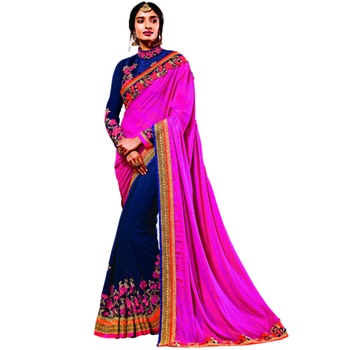 Navy Blue And Pink Embroidery Chinon And Georgette saree with blouse
