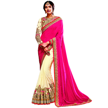 Off White And Pink Embroidery Crepe saree with blouse
