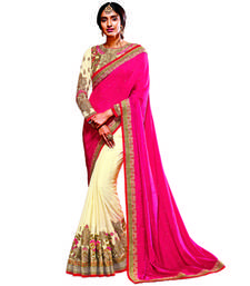 Buy Off White And Pink Embroidery Crepe saree with blouse party-wear-saree online