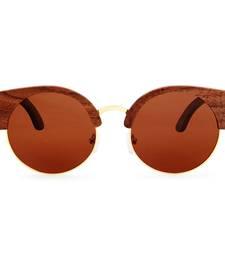 Buy Amadore Mocha Cat eyed Wooden Sunglasses sunglass online