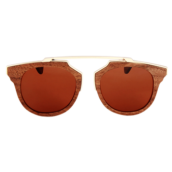 Oro Mocha Retro Wooden Sunglasses
