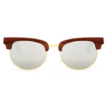Fabiano Silver ClubMaster Wooden Sunglasses