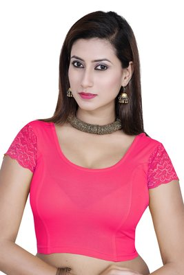 Pink solid  stretch stitched blouse