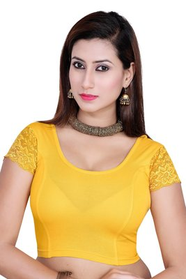 Yellow solid  stretch stitched blouse