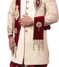 Buy Beigh Embroidery Jacquard Regular Fit Sherwani with jutti rajasthani-sherwani online