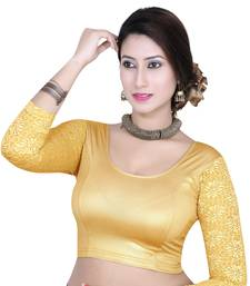 Gold solid shimmer lycra stitched blouse