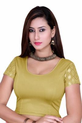 Gold solid shimmer lycra stitched blouse
