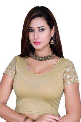 Copper solid shimmer lycra stitched blouse