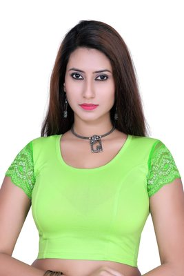 Parrot green solid  stretch stitched blouse