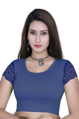 Royal blue solid  stretch stitched blouse
