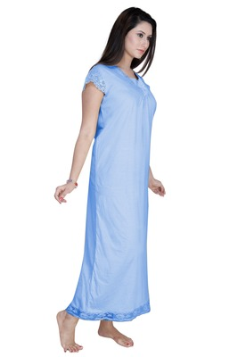 Ladies Cap Sleeves Knitted Jersey Ankle Length Nighty.