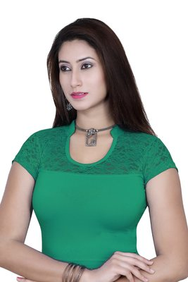 R.green solid  stretch stitched blouse