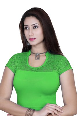 P.green solid  stretch stitched blouse
