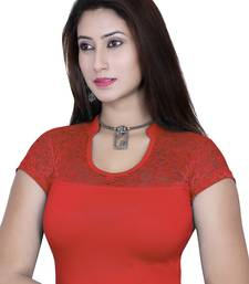 Blood red solid  stretch stitched blouse