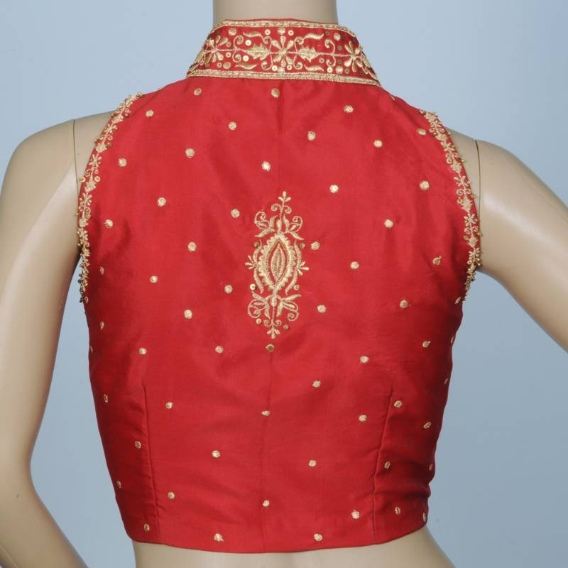 Stand Collar With Delicate Machine Embroidery In Blood Red Bengal