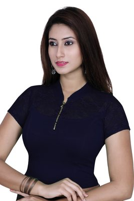 Navy solid  stretch stitched blouse