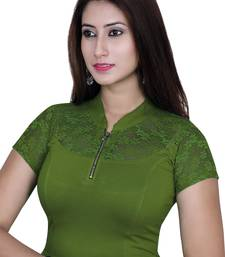 Green solid  stretch stitched blouse