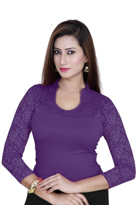 Purple solid  stretch stitched blouse