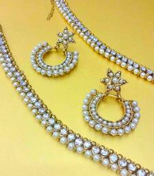 Buy Combo  : white diamentes pearl payal anklet & glowing pearl Indian earring anklet online