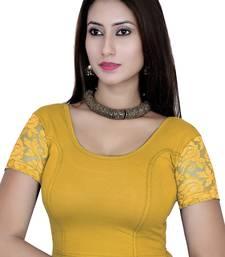 Lemon solid  stretch stitched blouse