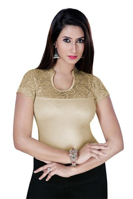 Copper solid  stretch stitched blouse